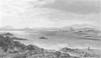 view of edinburgh from barnhill bay, fife (between dalgety bay and aberdour) showing st. colm's abbey, inchcolm and oxcars by john le conte