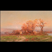 untitled - autumnal sunset with two figures by carl von perbandt
