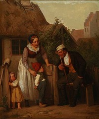 country exterior with a cheeky little boy sticking out his tongue at a gentleman by edvard lehmann