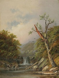 landscape of a waterfall by daniel charles grose