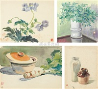 fruit and flowers (4 works, various sizes) by shao liangyun and li yongsen