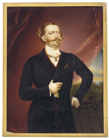 vittorio emanuele ii king of sardinia and later king of italy standing with his left hand on the back of carved wooden chair and holding a white glove in his right hand by luigi gandolfi