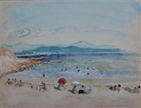 après-midi sur la plage du cannet by henri lebasque
