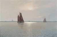 evening atmosphere with fishing boats at sea off a coast by alexander reich-staffelstein