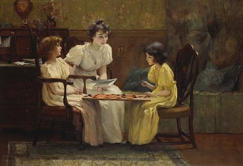 young girls playing checkers by francis coates jones