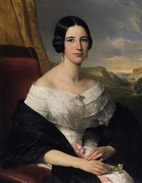 porträt der marie lentze, ehefrau des königlich preußischen hauptmanns wilhelm lentze, vor landschaftshintergrund by louis krevel