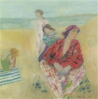 girls on beach by brenda lenaghan