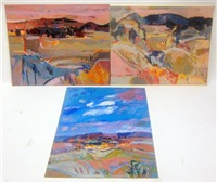abstract landscapes (group of 7 works) by jean krille