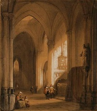 interior from a gothic church by jan baptiste tetar van elven