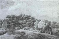 flusslandschaft mit kahn by franciscus andreas milatz