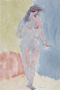 stehender weiblicher akt (+ stehender weiblicher akt mit ausgestrecktem arm, lrgr; 2 works) by kurt lauber