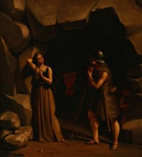 scene from nordic mythology. a young lady and a young warrior in front of a cave by fritz (georg urban f.) jürgensen
