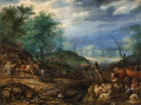landscape with shepherds and a wagon by roelandt savery