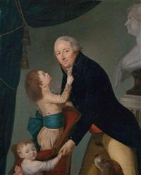 familienbildnis. zwei kinder und der vater unter der porträtbüste der mutter by nicolas benjamin delapierre
