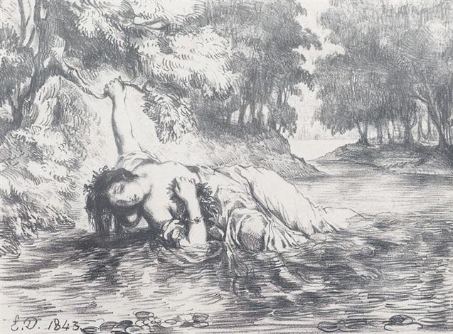 mort d′ophélie by eugène delacroix