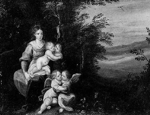 maria mit dem kind johannes und zwei engeln in der landschaft by hieronymus francken iii