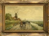 bauer treibt seine rinder an einem kanal vorbei by johann heinrich limpert