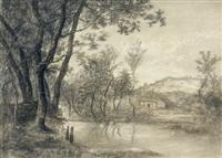 flusslandschaft mit bäumen und einem haus by joseph marius agassis