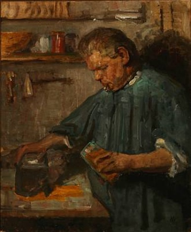 interior with a man mixing colors study by herman albert gude vedel