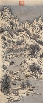 雪寺探梅图 (landscape after wangshen) by guan huai