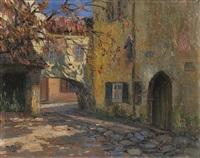 häuserwinkel mit torbogen in einem mittelalterlichen städtchen by theodor feucht