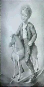 portrat eines knaben auf dem schaukelpferd by albert figel