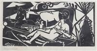allongé femme nue avec la vache et de chèvre by heinrich campendonk