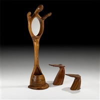 hall tree and two stools (3 works) by polyte solet