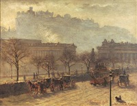 the mound and edinburgh castle from the north side of princes st., edinburgh by robert little