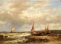 fischer mit ihren booten an der küste by abraham hulk the younger