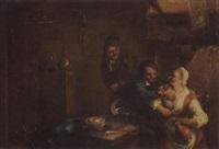 bäuerliche interieur mit zwei männern und einer frau by sebastiaen (bastiaen) heemskerck