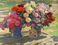 two vases of peonies on garden table by yuri smirnov