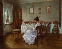 interior with a girl embroidering by otto linger