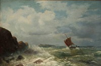 rocky coast with a sailboat in high waves by friedrich wilhelm fabarius