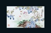 《一池春水》 (famille-rose glazed porcelain plate) by liu ping
