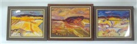 abstract landscapes (group of 3 works) by jean krille