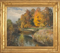 autumnal river landscape by mathias joseph alten
