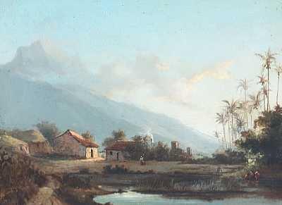 parti fra vestindien med huse og palmer ved en so i baggrunden bjergtinde by fritz siegfried george melbye