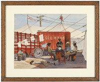 cole bros circus workers by clarence nelson aldrich