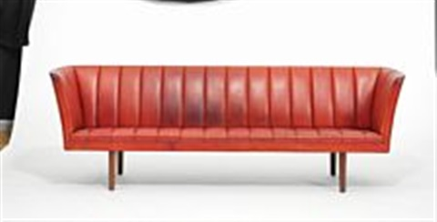 Three Seater Sofa With Tall Round Brazilian Rosewood Legs By Helge Vestergaard Jensen
