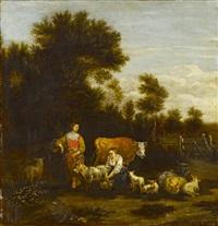 hirten und hirtinnen mit ihren tieren vor weiter landschaft by johannes van der bent