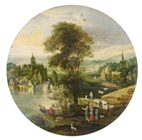 landscape with water castle by philips de momper the elder