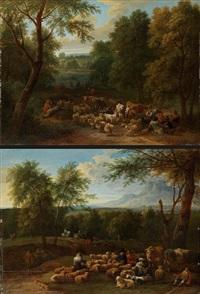 gegenstücke: landschaften mit viehherde (pair) by mathys schoevaerdts