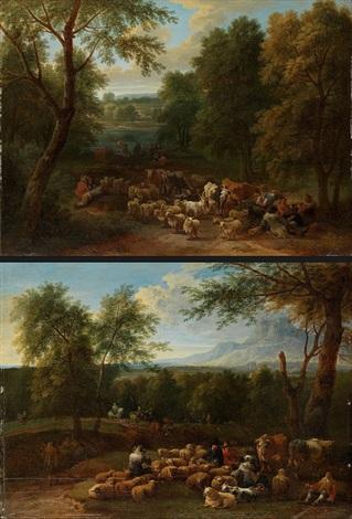gegenstücke landschaften mit viehherde pair by mathys schoevaerdts