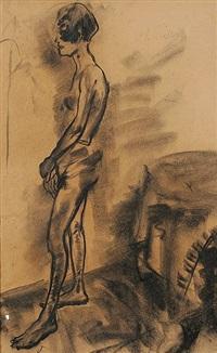 stehender weiblicher akt nach links -(+weiblicher halbakt; 2 works) by gustav alfred müller