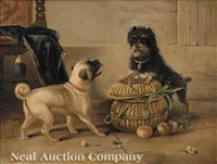 puppies with basket by edmond le kimpe