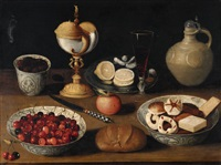still life with cherries and biscuits by georg flegel