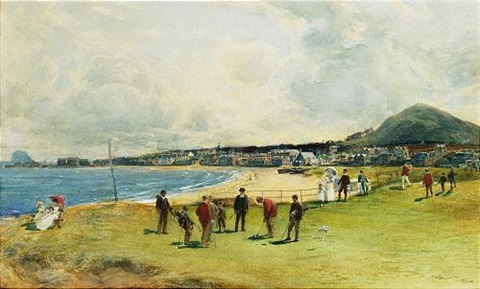 playing the first hole at point garry north berwick by michael brown