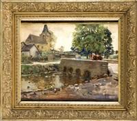 steinbrücke mit kirche im hintergrund und figurenstaffage by hans herrmann