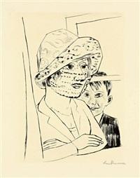 dame mit knabe (minna beckmann-tube and peter beckmann) by max beckmann